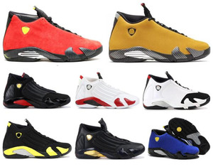 Wholesale New s Candy Cane Black Toe Fusion Varsity Red Suede Men Basketball Shoes Last Shot Thunder Black Yellow DMP Sneakers With Box