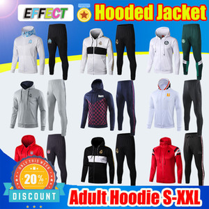 Wholesale Mens Designer PSG Real Madrid hooded Cape Soccer Training Jacket Fashion Ajax Hoodie Coat United Sets Survetement Clothing