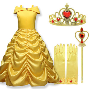 Wholesale 2019 Cosplay Belle Princess Dress Girls Dresses For Beauty and the beast Kids Party Clothing Magic stick crown Children Costume