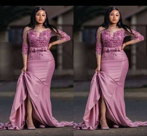 Wholesale Dusty Rose Fashion Saudi Arabic Mermaid Evening Mother of the bride Dress Satin Applique 3 4 Sleeves Party Prom pageant Dress Plus size