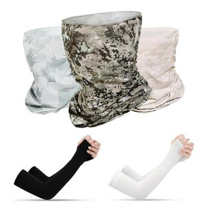 Wholesale cool summer arm sleeves for sale - Group buy Camouflage Print Dust proof Anti UV Unisex Outdoor Scarf Neck Gaiter Arm Sleeves Set Breathable Summer Cooling Arm Warmers