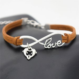Wholesale Exquisit Graduated Handmade Brown Leather Suede Wrap Bracelets Boho Chic Infinity Love Double Dolphin Animal Heart Jewelry Valentine s Gifts