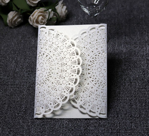 Wholesale laser cut wedding invitation pockets resale online - 20 Color Pearl Paper Pocket Laser Cut Wedding Invitations No Inserts or envelopes Laser Cut Wedding Invite