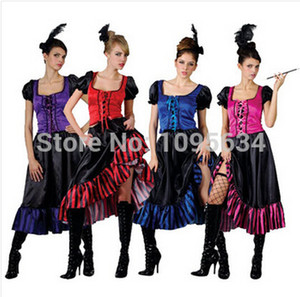 traje menina cowboy venda por atacado-Saloon Girl burlesco Can Cowboy Fancy Dress Ladies Western Costume Cores S XL