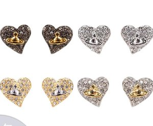 Wholesale Western Europe and the West Queen Love Hearts and Earth Stars Two color Plated Earrings Stud Earrings