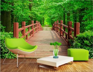 Wholesale garden wallpaper for living room for sale - Group buy WDBH d wallpaper custom photo Park wooden bridge garden landscape background home decor living room d wall murals wallpaper for walls d