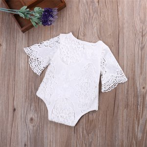 Wholesale INS New Fashions Designer Baby Girl Boy Romper Clothes Solid White Lace Long Sleeved Newborn Belt Jumpsuit Newborn Romper Onesies