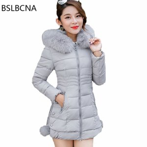 Wholesale Plus Size Clothes Korean Fashion Overcoat Mid Length Parka Feminina Big Hair Collar Down Cotton Female Winter Jacket Women A450