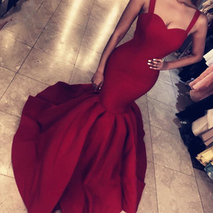 Wholesale Mermaid Prom Evening Dress Spaghetti Backless Sleeveless Floor Length Satin Zipper Pageant Cocktail Party Maid Of Honor Dress Evening Gowns