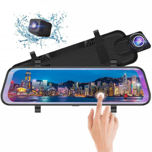 "10"" IPS touch screen car DVR stream media mirror rearview dash camera 2Ch dual lens front 170° rear 145° wide angle FHD 1080P"