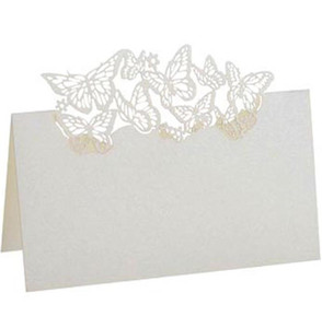 2019 Hollow Out Pearlescent Paper Butterfly Name Tag Holder Check Table Card Wedding Seat Card Greeting card Invitation