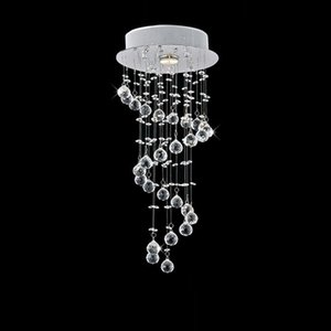 Wholesale Modern Clear Spiral Sphere LED Lustre Crystal Chandelier Ceiling Lamp Home Decor Suspension Pendant Lamp Fixture Light