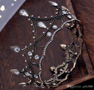 Wholesale European and American fashion retro Baroque round bride crown black full ring wedding accessories wedding jewelry