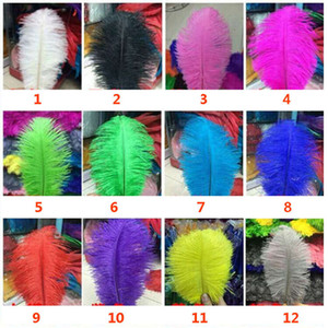 Ostrich Feather Plume Colorful Feathers For Crafts Costume Supplies Table Wedding Birthday Centerpieces 12Colors Choose HH9-2119 on Sale