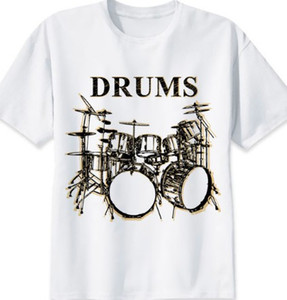 Wholesale Drums t shirt Drum set short sleeve gown tops Music kit fastness tees Colorfast print clothing Pure color modal tshirt