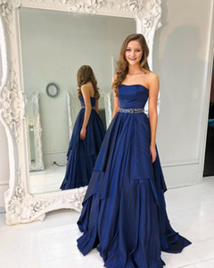 Navy Blue Prom Dresses Long Cheap A Line Strapless Beading Belt Evening Gowns Taffeta Cocktail Party Dress Formal Gown on Sale