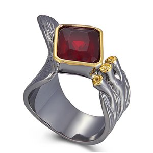 Wholesale red ring jewellery resale online - Cool Irregular Finger Ring for women Square Red Zirconia stone Jewelry Gun Black Gold Color Crsytal Female Big Rings Jewellery