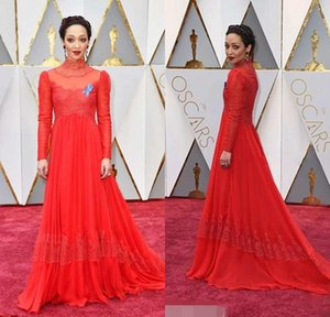 New Ruth Negga Red Lace Celebrity Dress 89th Annual Academy Awards High Neck Long Chiffon Evening Dress Lace Sleeves Prom Party Gown on Sale