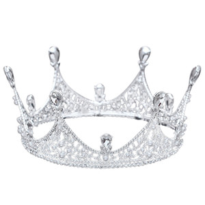 Wholesale Luxury King Full Round Crown Tiara Crystal Wedding Bridal Party Pageant Prom