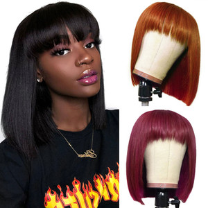 Wholesale short bang hair resale online - Brazilian Ombre Colored Short Bob Wigs Straight Human Hair Wigs with Bangs T1b Peruvian None Lace Wigs j Orange Ginger