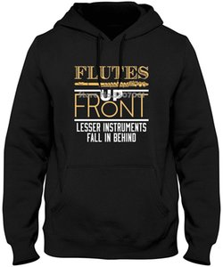 Wholesale Flutes Up Front Funny Flutist Gifts Summer winter Short Sleeves Fashion Hoodies Sweatshirts
