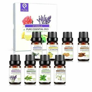Pyrrla 8pcs Pure Essential Oil Gift Set Lavender Frankincense Rosemary Eucalyptus Peppermint Essential Oil For Aromatherapy