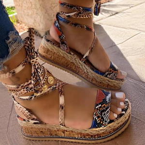Wholesale wedges snake for sale - Group buy Sarairis Wedges Heels Fashion Big Size Shoelaces Snake Printed Summer INS Hot Shoes Women Sandals Instock
