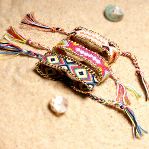 Wholesale Free DHL Friendship Bohemian Colorful Weave Cotton Thread Rope Chain Charms Bracelet Bangle Hand Strap Yoga Bracelet Wristbands H677F Y