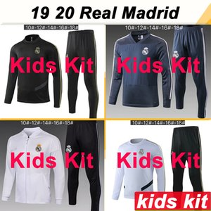 Wholesale 19 Real Madrid Jacket kids Kit Soccer Jerseys New HAZARD SERGIIO RAMOS BENZEMA Tracksuit Child Suit Training Wear Football Shirts Top