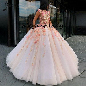 Charming Prom Dresses With 3D Floral Appliques 2019 Jewel Neck Puffy Skirt Sweep Train Princess Arabic Occasion Evening Gown on Sale