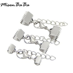 Wholesale 20Pcs Stainless Steel Crimp End Caps Beads Lobster Clasps Extended Chains Flat Leather Cord End Cap String Ribbon Clip