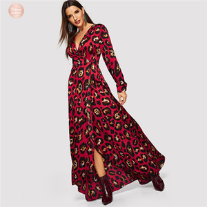Wholesale Maxi Dress V Neck Leopard Party Surplice Wrap Christmas Dress Women Spring Long Sleeve Print Korean Elegant Dress