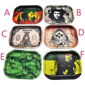 Metal Fruit Tray Tray Tin Plate Case Mini Metal Machine Tobacco Rolling Tray Handroller Smoking Storage Case 6Colors