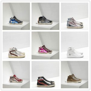 Wholesale 2019 Italy Brands Golden Old Style Designers Fashion Sneakers Genuine Leather Mens Womens Casual Shoes Gooses Trainer SUPERSTAR SLIDE G-024