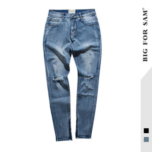 Cool2019 Street High Holes Knife Jeans Chao Kan Ye Destruction Bound Feet Make A Slit Or Vent Zipper Self-cultivation Trousers Tide Male on Sale