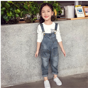 Wholesale Baby Girls Overalls Autumn Denim Jumpsuit Style Long Jeans Casual Washed Rompers Pocket Button Suspender Trousers Children Girl Jeans new