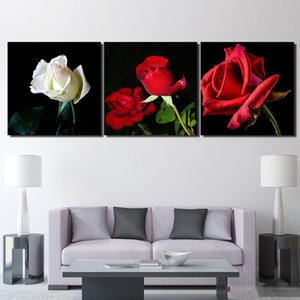 Wholesale flowers posters free resale online - 3 Piece Canvas Art HD Print Flower Canvas Painting Rose Poster Paintings For Living Room Wall