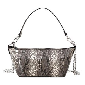 New Chic Dumpling Shaped Shoulder Bag Top-handle Tote Women Snake Print PU Leather Chain Crossbody Handbags
