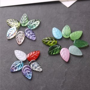 Wholesale handmade blades resale online - 11 mm Leaf glass pendant accessories DIY colorful blade manufacturers GSLLZ004 Handmade Lampwork