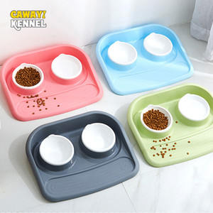 CAWAYI KENNEL Dog Feeder Drinking Bowls for dogs Cats Pet Food Bowl comedero perro miska dla psa gamelle chien chat voerbak hond T200101
