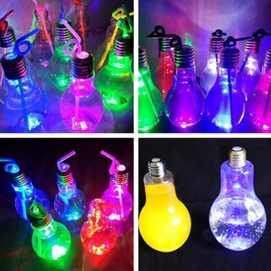 Wholesale New light bulb beverage bottle milk tea bottle plastic juice bottle creative yogurt cup Luminescence cup Drinkware tools