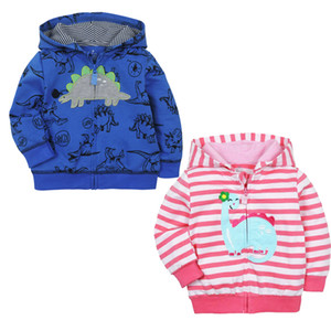 Wholesale Baby Sweater Coat Zipper Shirt Striped Embroidered Hooded Sweater Cotton Dinosaur Printed Cardigan Shirt Baby Clothes 45
