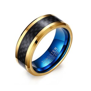 Wholesale Gentleman mm Black Tungsten Carbide Ring for man Black Blue Carbon Fiber Inlay Polished Finish Band rings Edges Comfort Fit