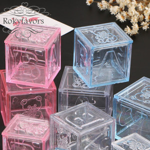 Wholesale baby shower decors resale online - 30PCS Plastic Bear Block Favor Boxes Baby Shower Baptism Party Candy Holder Birthday Sweet Package Suuplies AB Block Boxes Event Table Decor