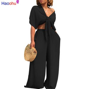 Wholesale HAOOHU Plus Size Sexy Two Piece Set Women Outfits Bow Tie Tops Wide Leg Pants Suits Casual Clothes solid color Matching Sets