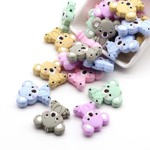50pcs Cute Mini Koala Baby Silicone Teether Toys Pendant Chew Pacifier Clips Soother Chain Accessories BPA Free Christmas Gifts