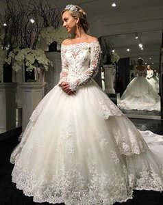 Gorgeous Princess Ball Gown Wedding Dresses Long Sleeve Off Shoulder Beaded Appliques Lace Chapel Train Bridal Gowns Custom Size Z99