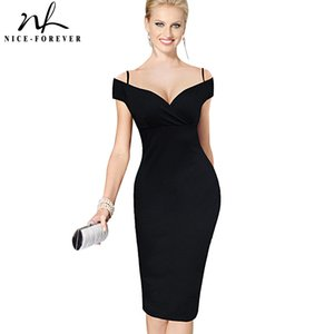 Wholesale Nice forever New Sexy Elegant Solid Stylish Casual Work Strap Slash Neck Bodycon Knee Midi Women Formal Pencil Dress B309 Q190423