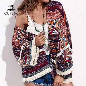 CUPSHE Fringe Trimmed Boho Short Cover Up Sexy Retro Tunic Shirt Bathrobe Women 2019 Summer Beach Bathing Suit Beachwear