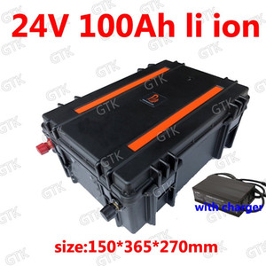 Waterproof 24V 100AH Lithium ion Battery with BMS for Solar energy storage bicycle Golf Cart Inverter Forklift fork +10A Charger